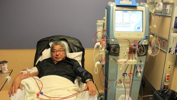 Caleb Mckay receives a four-hour dialysis treatment at the Thunder Bay Regional Health Science Centre.