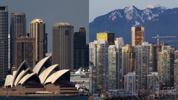 At left, the skyline of Sydney, and at right, Vancouver's. An Australian housing expert says both cities are grappling with similar issues.