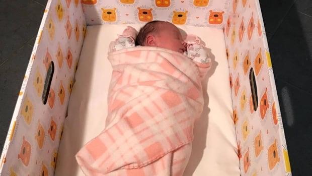 Two-week old Rachel Ipeelie Shoapik sleeps well in her baby box, according to her mom, Emily Shoapik.