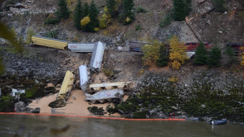 Grain cars tumble into Fraser River as train derails north of Yale