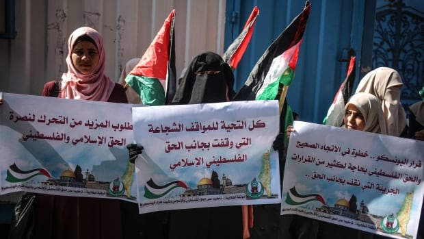 Palestinians hold placards in support of a UNESCO resolution denying a Jewish connection to the Al-Aqsa Mosque compound. For Muslims, Al-Aqsa represents the world's third holiest site. Jews, for their part, refer to the area as the Temple Mount, claiming it was the site of two Jewish temples in ancient times.
