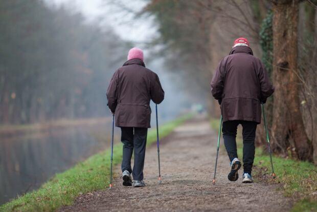 Elderly seniors walking