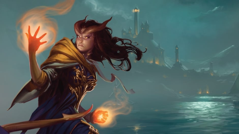 """A wizard casts a spell in this promotional image for the Dungeons and Dragons novel """"Adversary"""""""