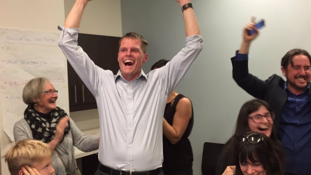Charlie Clark celebrates at his campaign office as mayoral-elect for Saskatoon in October 2016.