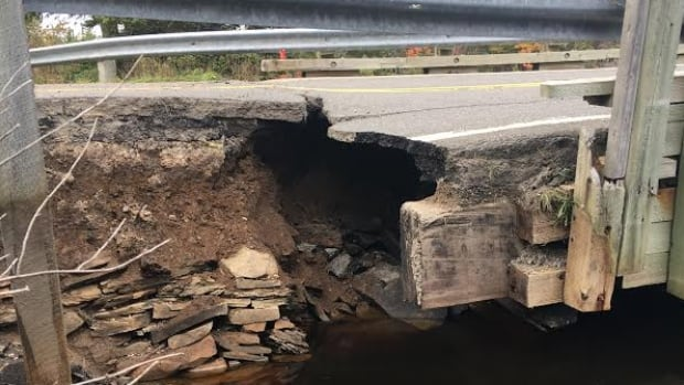 This bridge on Hornes Road in Cape Breton was destroyed by floodwaters during the recent storm.