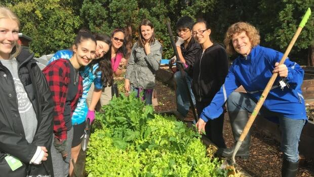 Cynthia Bunbury leads a group of eager students through the massive garden at the Sutherland Secondardy School. Left to right: Kris Lakatos, Hadeel Abu Shamat, Jaime Hackland, Wendy Matsubuchi, Julia Duncan, Seth Divina, Veronica Matsubuchi, and Cynthia Bunbury.