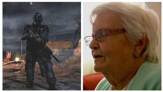 Ontario senior Christine McMillan reacts to a video trailer for Metro 2033, an apocalyptic first-person shooter video game she is accused of illegally downloading.