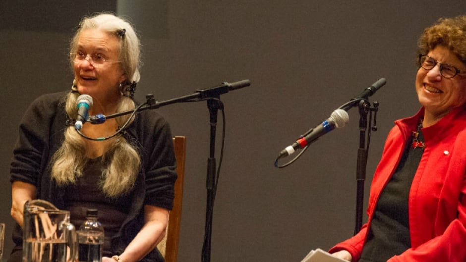 Pulitzer Prize–winning poet Sharon Olds, on stage with Writers & Company host Eleanor Wachtel at the Vancouver Writers Fest.