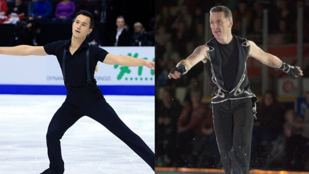Canadian figure skater Patrick Chan, left, got advice about staying competitive in the sport from retired great Elvis Stojko.