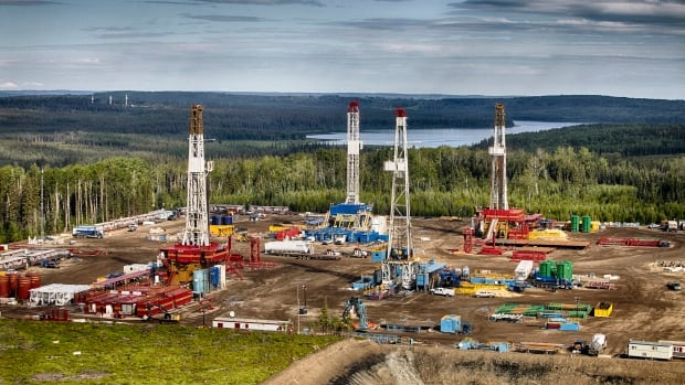 An aerial view of a drilling operation in the Montney.