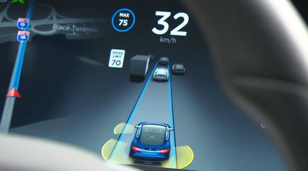 Model S Tesla in autopilot mode