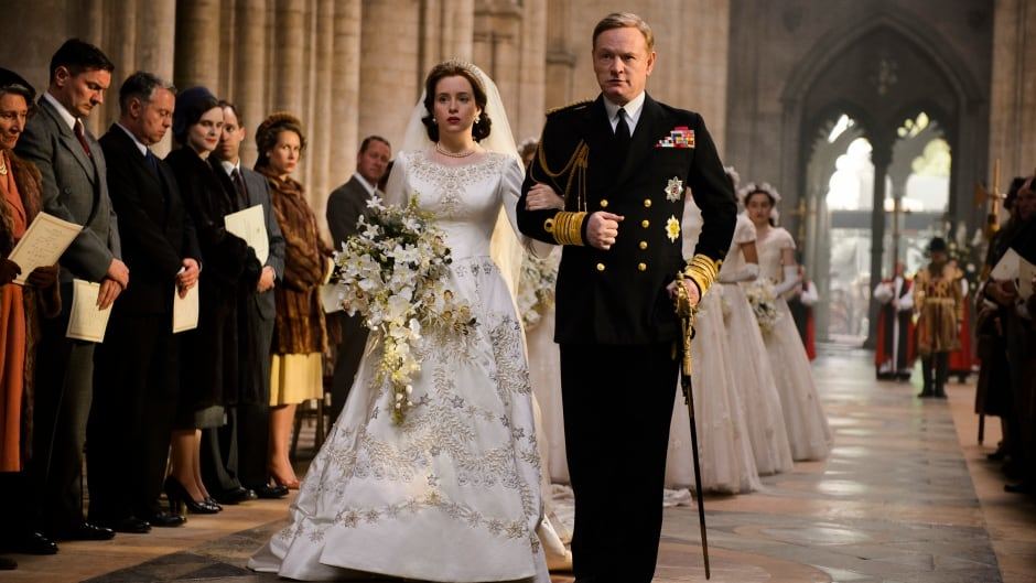 Claire Foy as Elizabeth and Jared Harris as her father King George VI in The Crown Season 1