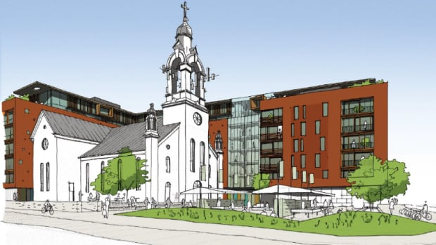 A rendering of Linebox Studio's proposal for the former St. Charles Church, as seen from Beechwood Avenue and St. Charles Street.