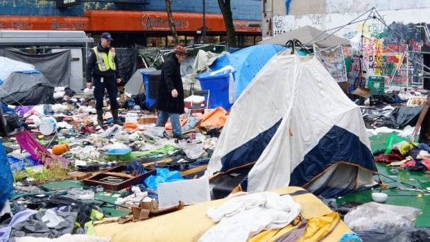 The City of Vancouver was granted an injunction last November to dismantle this homeless camp on the Downtown Eastside.