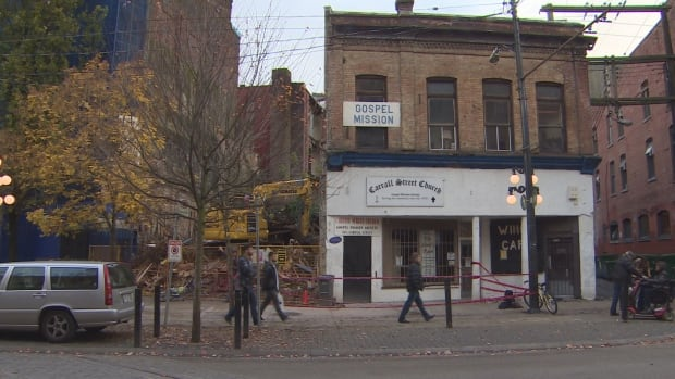 A Downtown Eastside charity has been forced to close because a demolition project that started Wednesday has damaged the historic Gospel Mission building.
