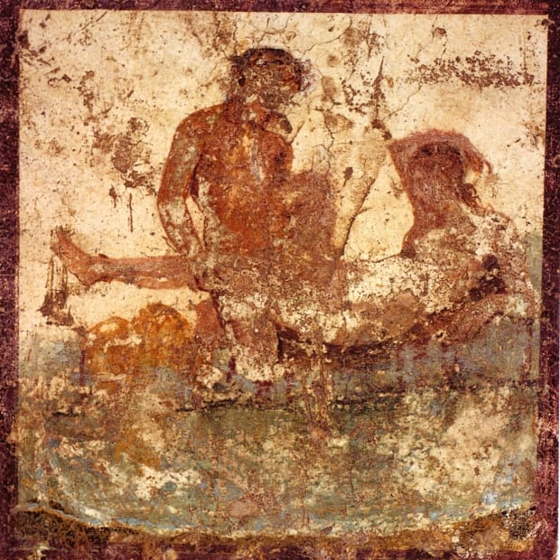 Nude couple in bed. Roman fresco from the Casa del ristorante (IX.5.14, room f, western wall) in P