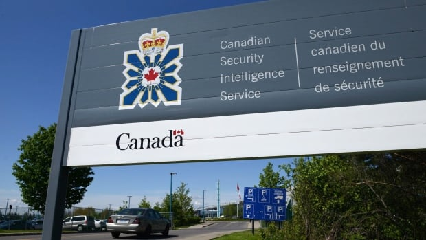 A sign marks the Canadian Security Intelligence Service building in Ottawa.