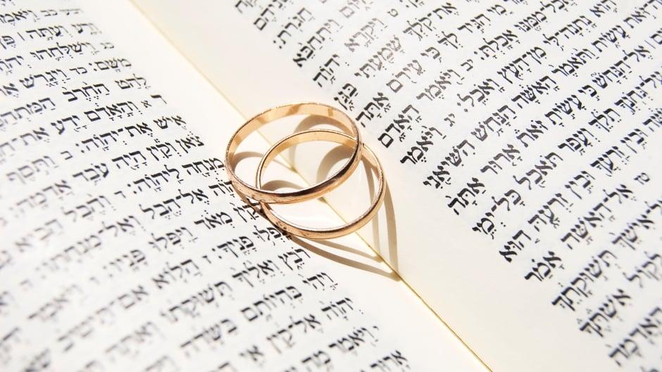 Wedding rings on the Torah