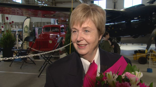 Rosella Bjornson was honoured Saturday at the Alberta Aviation Museum in Edmonton. Bjornson was the first woman to pilot a commercial Canadian airliner in 1990.