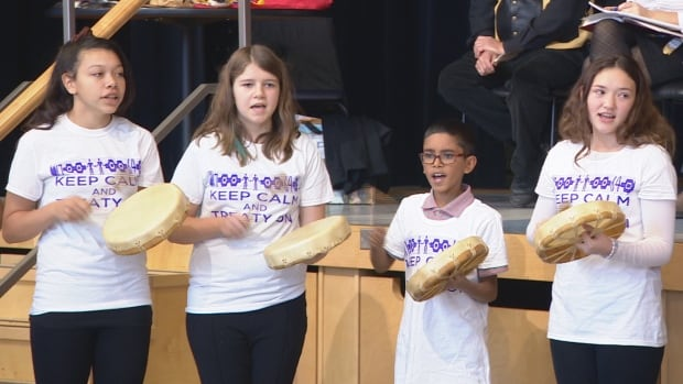 A drum group from David Bouchard Public School in Oshawa, Ont. performs a water song as the province launches the first Treaties Recognition Week and a new resource for high school teachers.