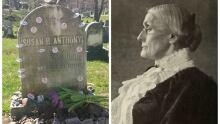 Susan B. Anthony grave site and portrait