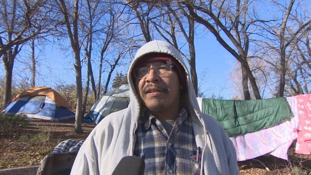 Homeless man Harley Klippensteine spent weekend camped out in Wascana Park