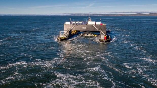 The Cape Sharp Tidal Venture turbine, shown being towed into Minas Passage, is a two-megawatt turbine.