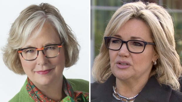 The only two women vying for the leadership of the Alberta PC Party — Donna Kennedy-Glans, left, and Sandra Jansen — both gave notice on Tuesday that they were withdrawing. Jansen cited intimidation and harassment.