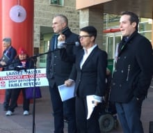 Nussbaum, McKenney and Fleury at low-income transit rally.