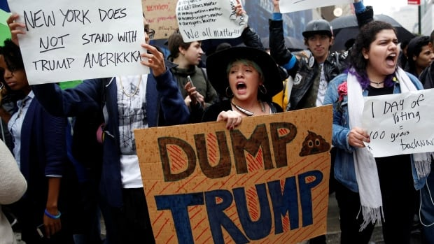 Demonstrators gathered in New York on Wednesday after Donald Trump's stunning election win. During the campaign, some Americans said they would move to Canada if Trump won.