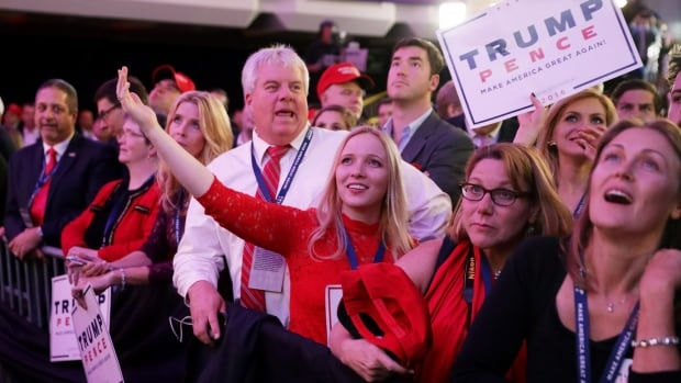 People celebrate during the call for Republican president-elect Donald Trump at his election night event in New York. The victory was a surprise for many as polls suggested his rival Hillary Clinton would win the presidency.