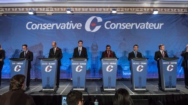 The Conservative leadership candidates' debate in Saskatoon, pictured, was held in English. The Moncton, N.B., debate will be in both official languages with no simultaneous translation.
