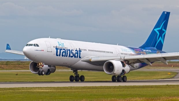 An Air Transat Airbus A330 lands at Vancouver International Airport. The company
