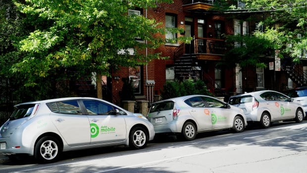 Auto-mobile cars from Communauto parked on St-Dominique Street in Mile End.