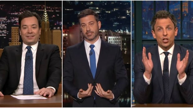 Late night television comedians, like NBC's Tonight host Jimmy Fallon, ABC's Jimmy Kimmel, and NBC's Seth Meyers, took to the airwaves Wednesday night, the first night after American voters chose Donald Trump as their next president.