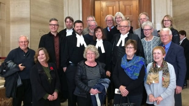 BCTF lawyers, staff, former staff and union leaders celebrate in Ottawa after surprise Supreme Court of Canada ruling.