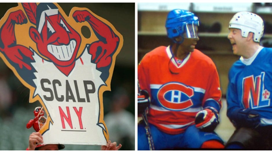 A sign at a 1997 Cleveland Indians game, and a blackface portrayal of P.K. Subban in 2014.