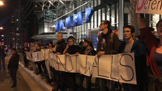 Protesters rally outside Vancouver's Trump Tower on Nov. 10, 2016.
