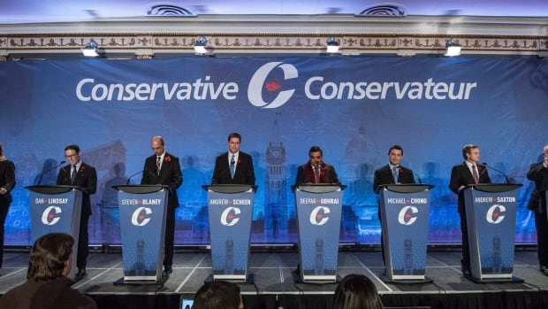 Conservative leadership candidates are introduced prior the Conservative leadership debate in Saskatoon on Wednesday, Nov. 9, 2016. (Liam Richards/Canadian Press)