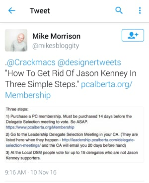 Calgary Blogger Mike Morrison was singled out by Kenney as trying to stop his leadership