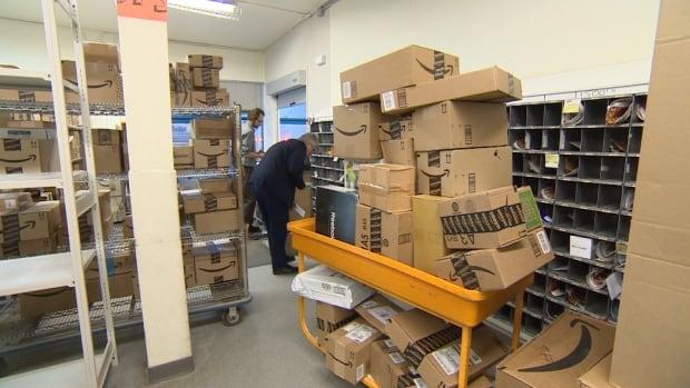Parcels in post office in Iqaluit