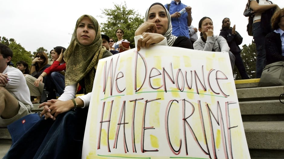 Members of the Society of Arab Students at the University of California during a 2004 protest on campus. A child's hoax this week poses challenges for groups tackling hate crime.