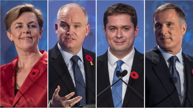 Conservative leadership contestants (from left to right) Kellie Leitch, Erin O'Toole, Andrew Scheer and Maxime Bernier have the early lead in caucus endorsements.