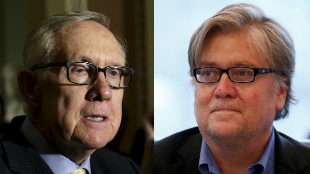 Outgoing Senate minority leader Harry Reid, left, is calling on U.S. president-elect Donald Trump to back off on plans to appoint Breitbart exec Stephen Bannon as White House chief strategist.