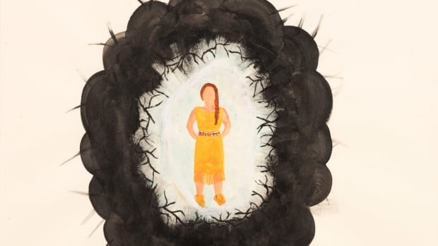 Many pictures drawn by Indigenous young people came with a narrative.  In this painting, a 16-year-old wrote: 'My painting is about pain and the black represents how she feels inside. But she has like this white kind of atmosphere and it separates it from her pain.'