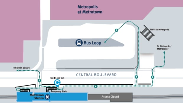 The overhead walkway from Metrotown Station to the mall and bus loop is being permanently closed today, meaning commuters will have to exit the platform via a new set of stairs and cross Central Boulevard to get to the mall and bus loop.