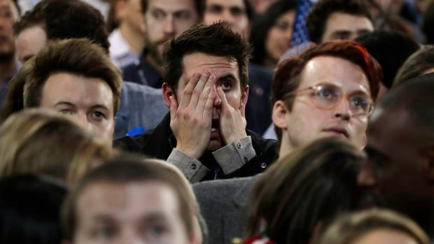 Supporters react to election results during Democratic presidential nominee Hillary Clinton's election night rally in New York, Tuesday, Nov. 8, 2016.