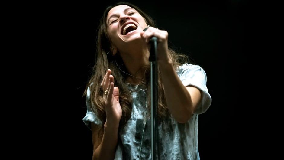 Dragonette's Martina Sorbara performing in the q studios in Toronto, Ont.