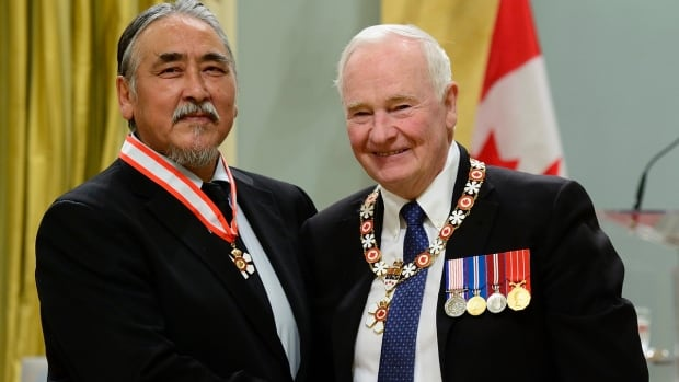 Abraham Anghik Ruben receives the Order of Canada from David Johnston, Governor General of Canada, at Rideau Hall on November 17, 2016.