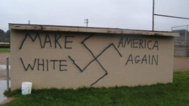A softball dugout in Wellsville, N.Y., was defaced on election night with the words 'Make America White Again,' the ADL reports.